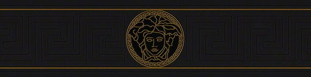 Versace wallpaper Mustertapete Versace 3 Greek in Metallic, Schwarz