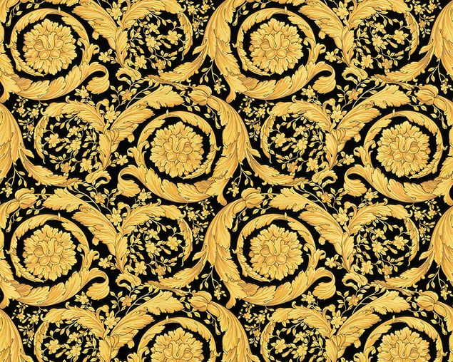 Versace wallpaper Mustertapete Versace 3 Barocco Flowers in Metallic, Schwarz