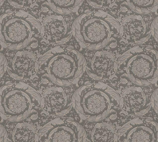 Versace wallpaper Mustertapete Versace 3 Barocco Flowers in Braun, Grau, Metallic