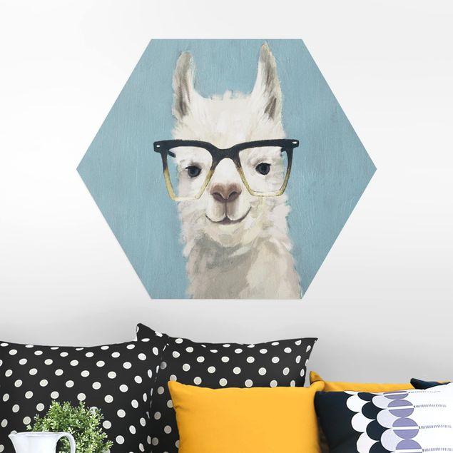 Hexagon Bild Alu-Dibond - Lama mit Brille IV