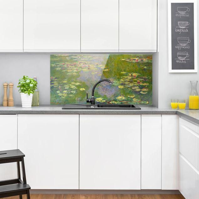 Spritzschutz Glas - Claude Monet - Grüne Seerosen - Querformat 1:2