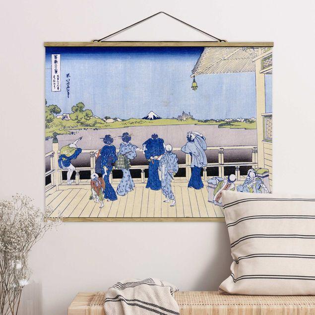 Stoffbild mit Posterleisten - Katsushika Hokusai - Die Sazai Halle - Querformat 4:3