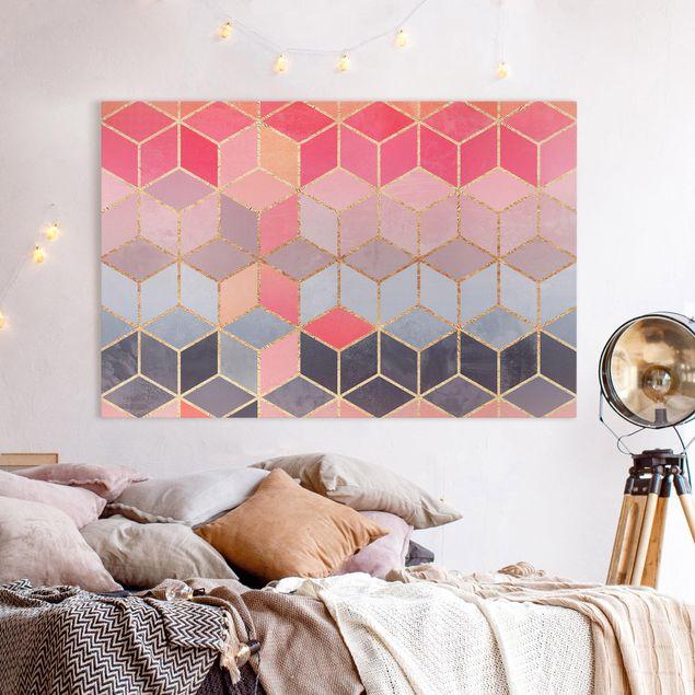 Leinwandbild - Buntes Pastell goldene Geometrie - Querformat 2:3