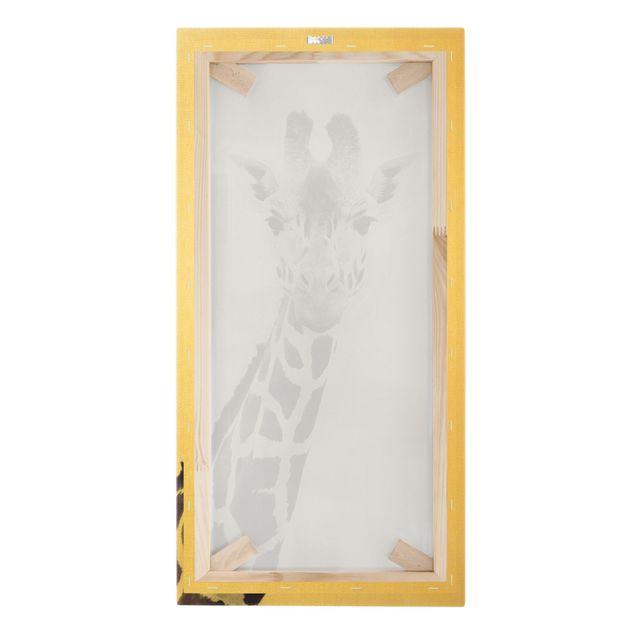 Leinwandbild Gold - Giraffen Portrait in Schwarz-weiß - Hochformat 1:2