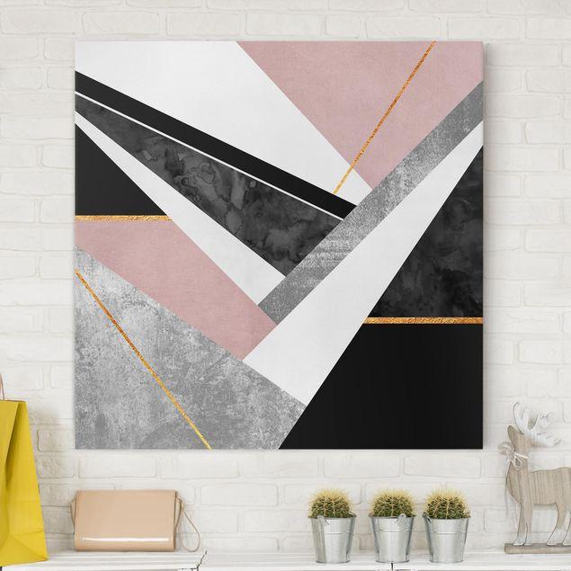 Leinwandbild - Schwarz Weiß Geometrie mit Gold - Quadrat 1:1
