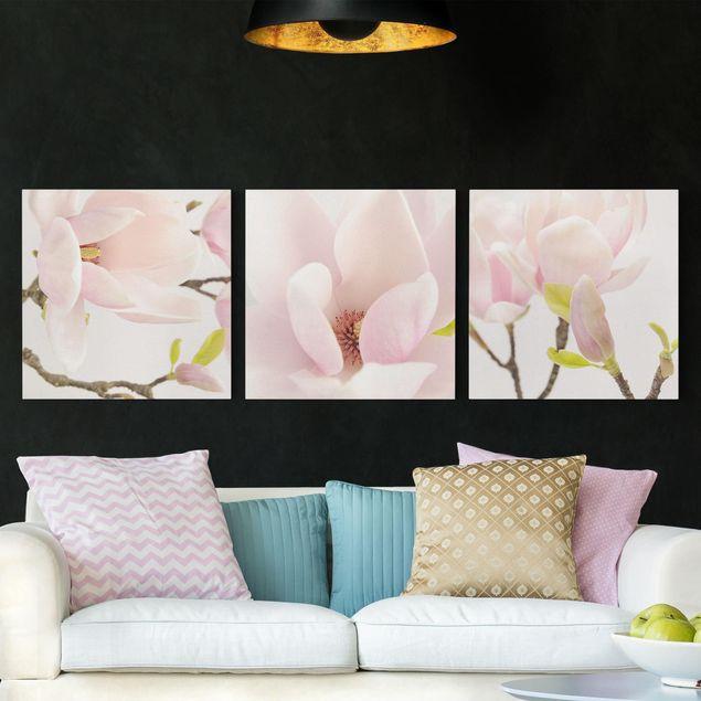 Leinwandbild 3-teilig - Magnolia Trio 1 - Quadrate 1:1