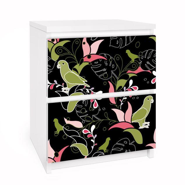 Möbelfolie für IKEA Malm Kommode - Selbstklebefolie Papagei Ornament