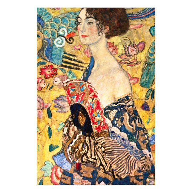 Magnettafel - Gustav Klimt - Dame mit Fächer - Memoboard Hochformat 3:2