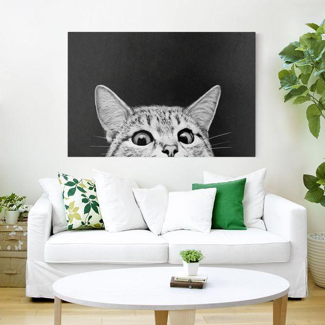 Leinwandbild - Illustration Katze Schwarz Weiß Zeichnung - Querformat 2:3
