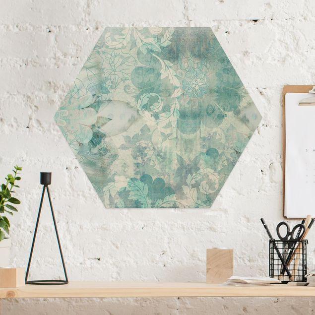 Hexagon Bild Alu-Dibond - Eisblumen