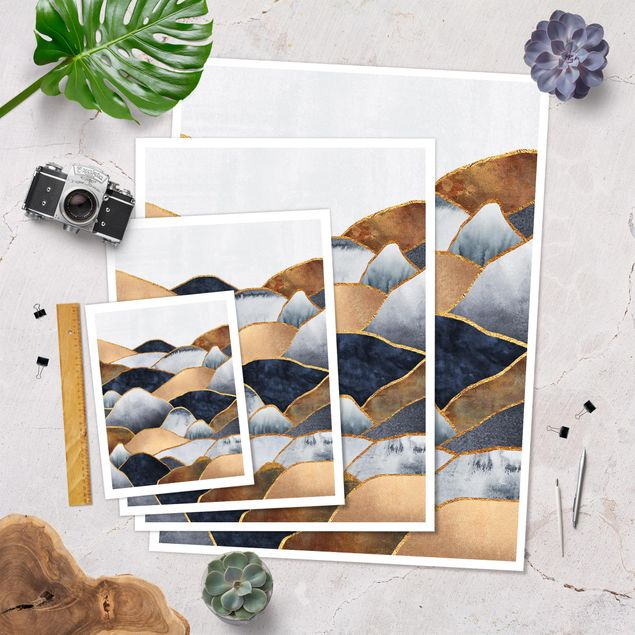 Poster - Goldene Berge Aquarell - Hochformat 4:3