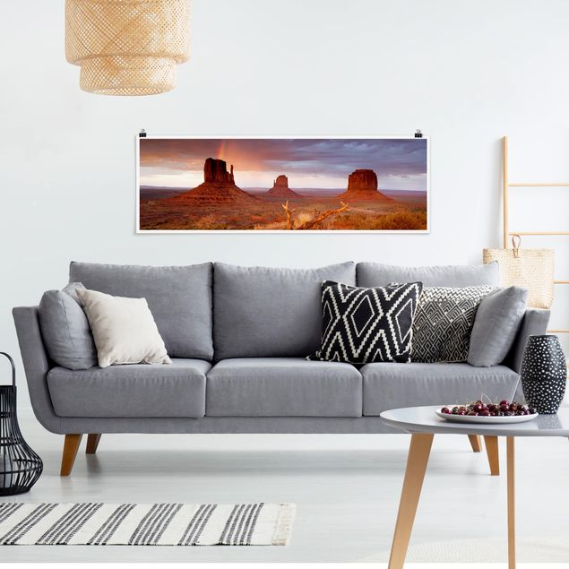 Poster - Monument Valley bei Sonnenuntergang - Panorama Querformat