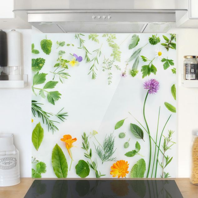 Glas Spritzschutz - Kräuter und Blüten - Quadrat - 1:1