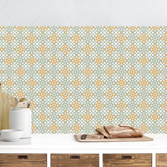 Küchenrückwand - Orientalisches Muster mit gelben Blüten