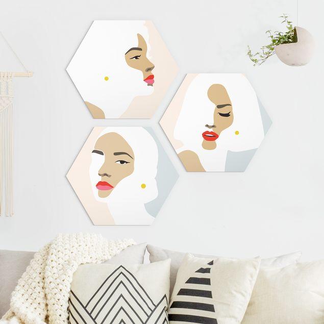 Hexagon Bild Forex 3-teilig - Line Art Portrait Frauen Pastell Set