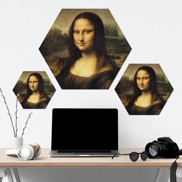 Hexagon Bild Alu-Dibond - Leonardo da Vinci - Mona Lisa
