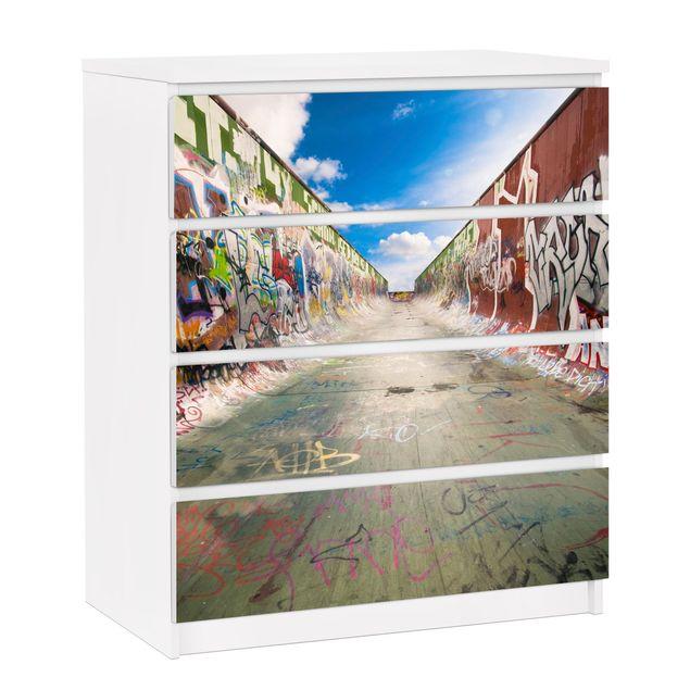 Möbelfolie für IKEA Malm Kommode - selbstklebende Folie Skate Graffiti
