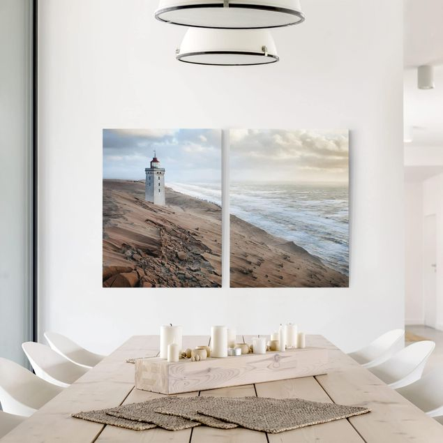 Leinwandbild 2-teilig - Leuchtturm in Dänemark - Hoch 3:4