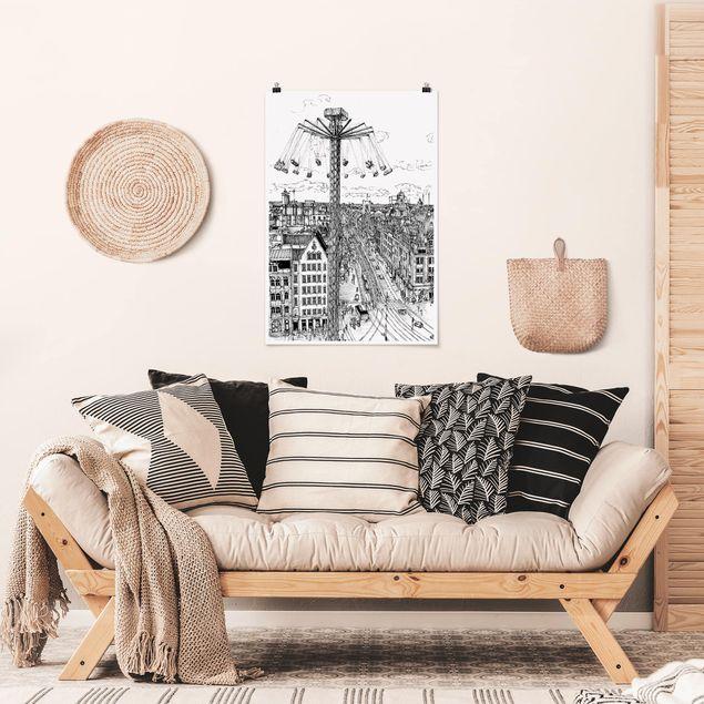 Poster - Stadtstudie - Kettenkarussell - Hochformat 3:2