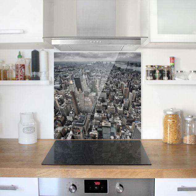 Glas Spritzschutz - Blick über Manhattan - Quadrat - 1:1