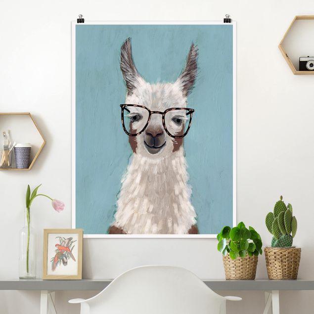 Poster - Lama mit Brille II - Hochformat 3:4