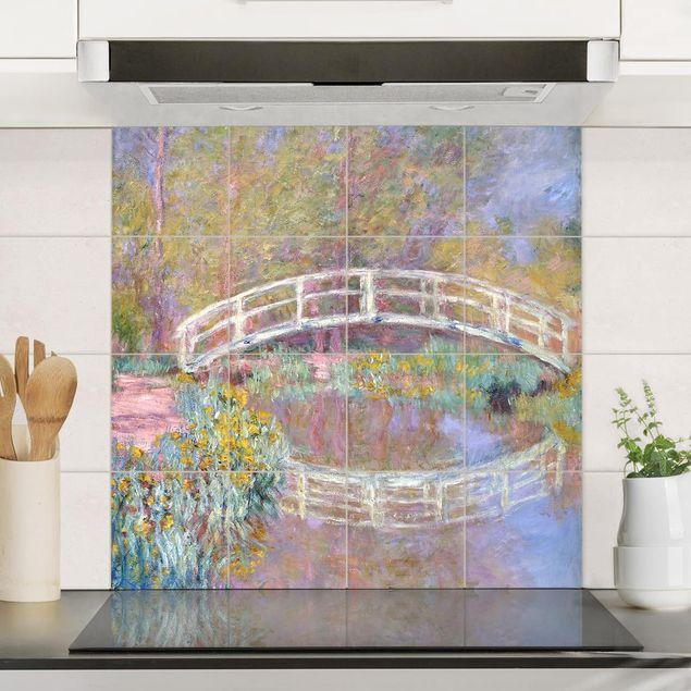 Fliesenbild - Claude Monet - Brücke Monets Garten - Fliesensticker Set quadratisch