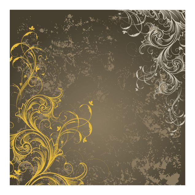 Fototapete Schnörkel in Gold und Silber