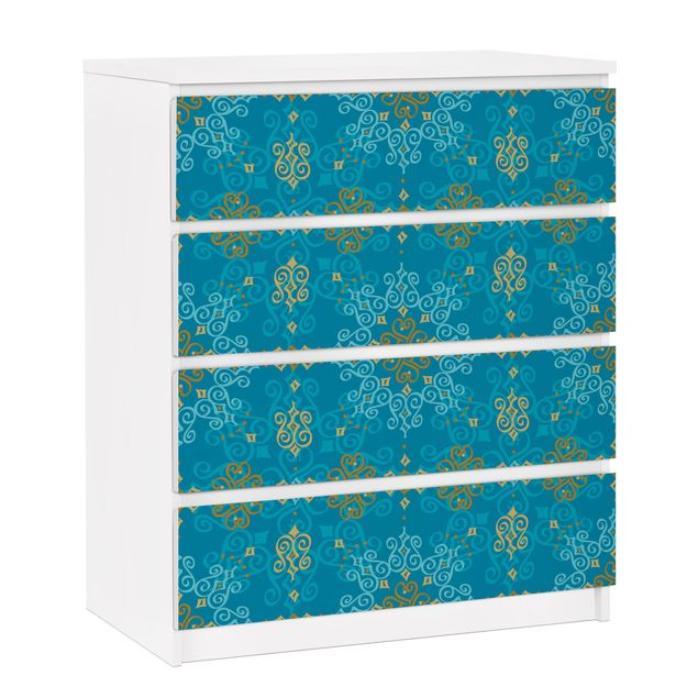 Möbelfolie für IKEA Malm Kommode - selbstklebende Folie Orientalisches Ornament Türkis