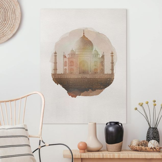 Leinwandbild - Wasserfarben - Taj Mahal - Hochformat 4:3