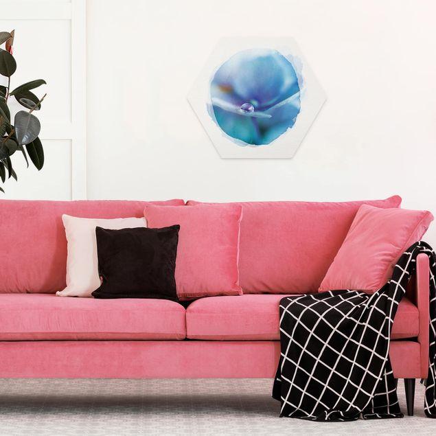 Hexagon Bild Forex - Wasserfarben - Wassertropfen Hortensienblüte