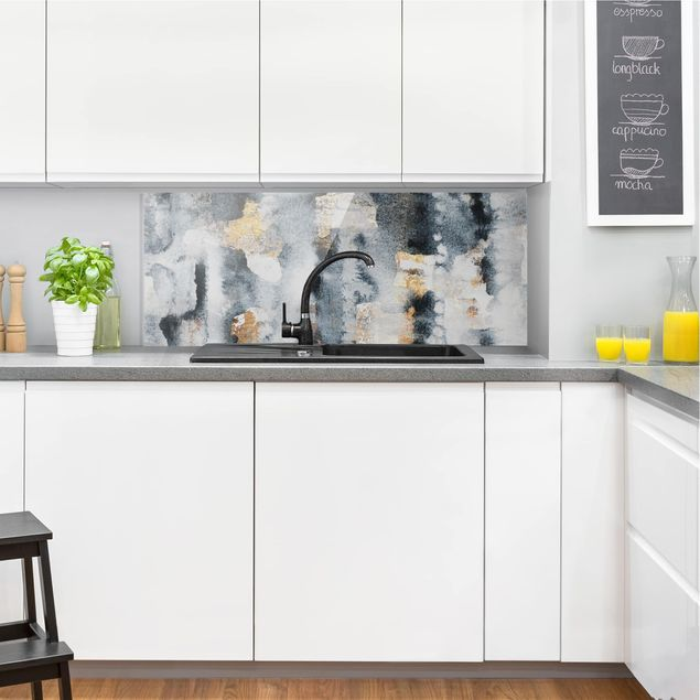Spritzschutz Glas - Abstraktes Aquarell mit Gold - Panorama