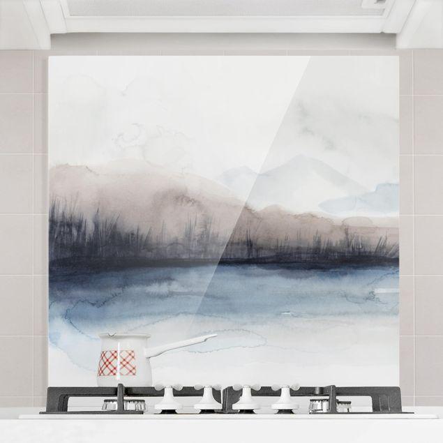 Glas Spritzschutz - Seeufer mit Bergen II - Quadrat - 1:1