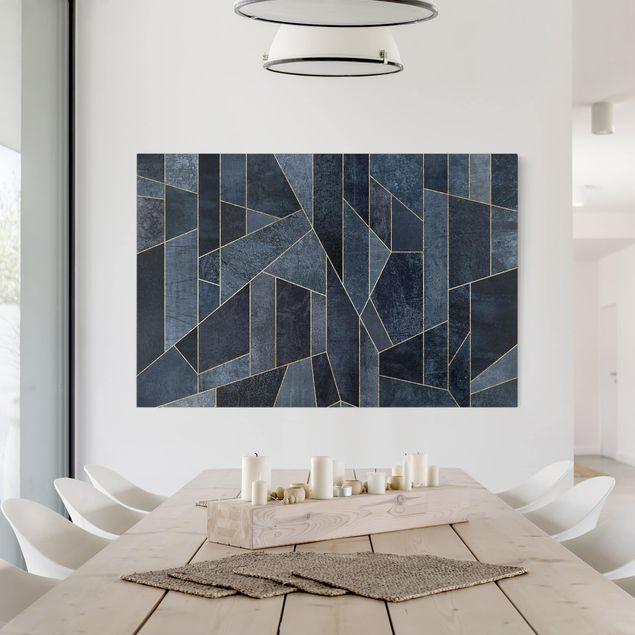 Leinwandbild - Blaue Geometrie Aquarell - Querformat 2:3