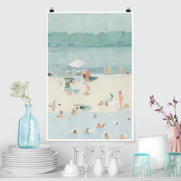 Poster - Sandbank im Meer I - Hochformat 3:2