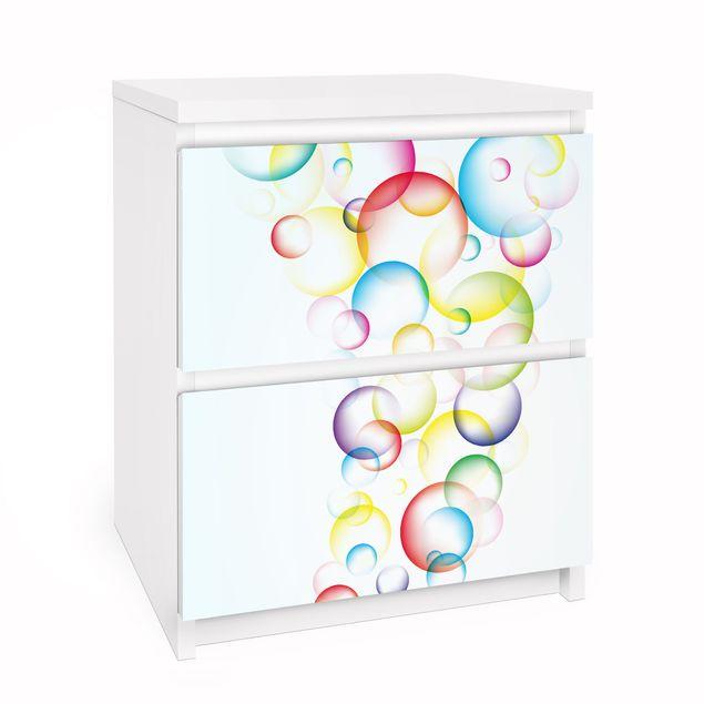 Möbelfolie für IKEA Malm Kommode - Selbstklebefolie Rainbow Bubbles