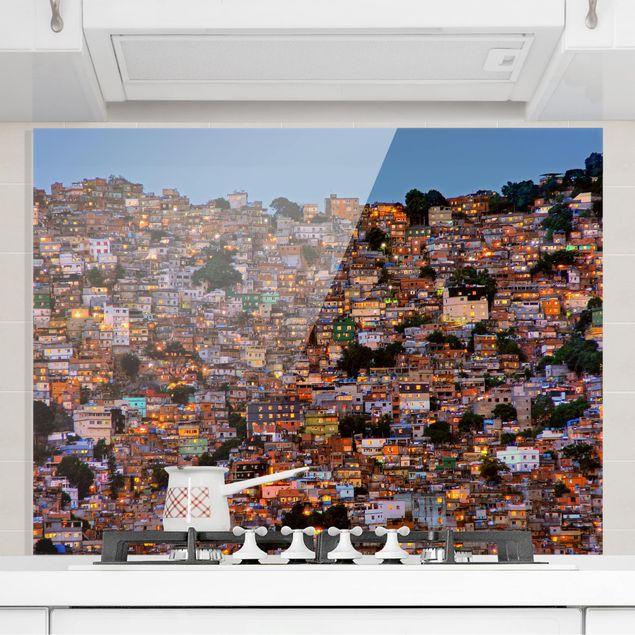 Glas Spritzschutz - Rio de Janeiro Favela Sonnenuntergang - Querformat - 4:3