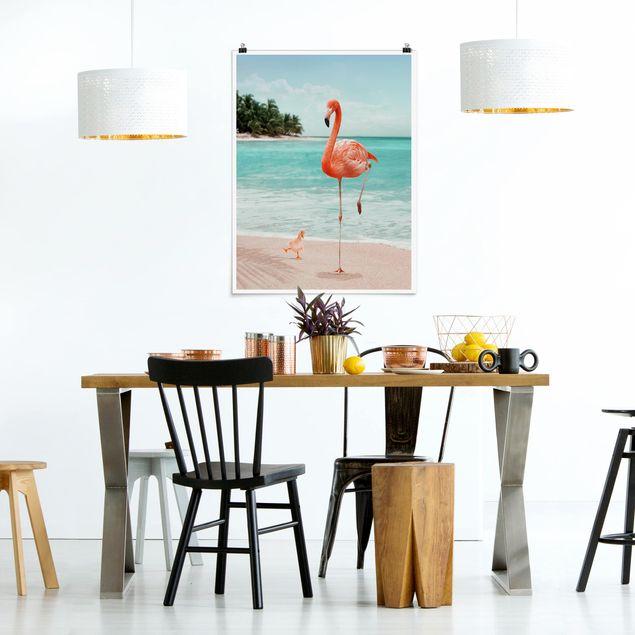 Poster - Jonas Loose - Strand mit Flamingo - Hochformat 3:4