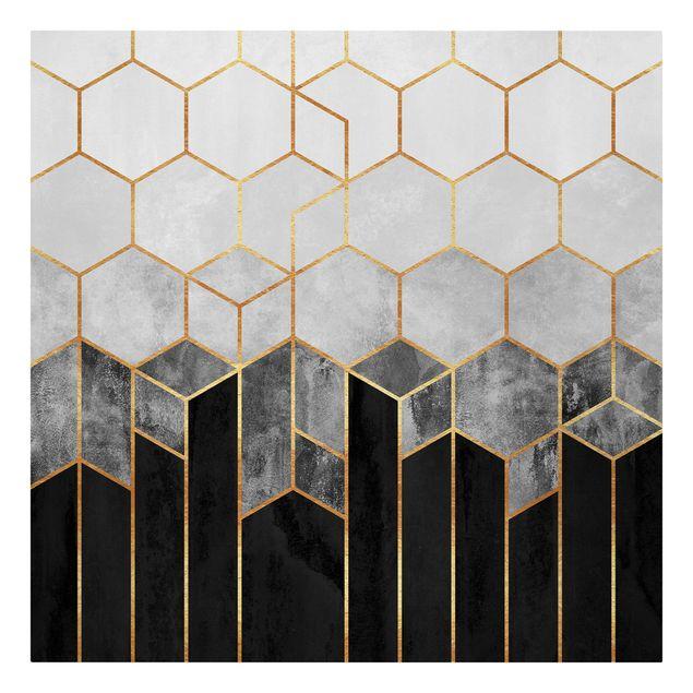 Leinwandbild - Goldene Sechsecke Schwarz Weiß - Quadrat 1:1