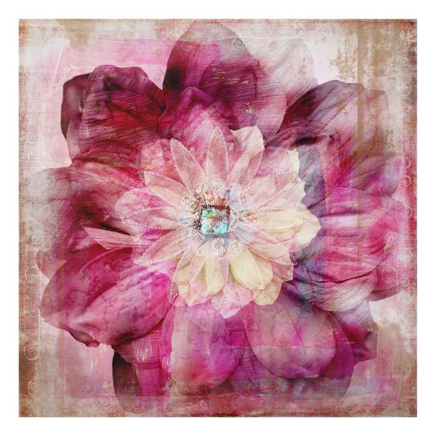 Alu-Dibond Bild - Grunge Flower