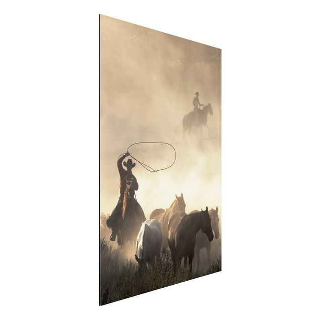 Alu-Dibond Bild - Cowboy Silhouette
