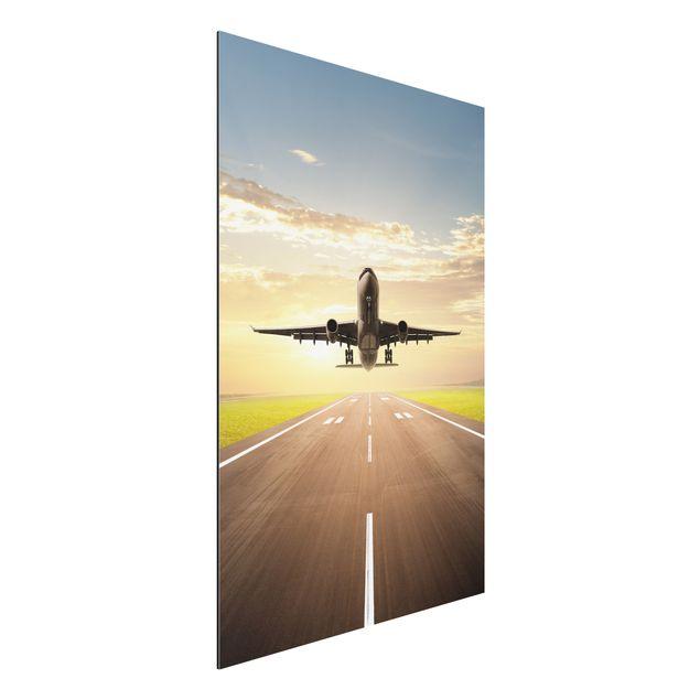 Alu-Dibond Bild - Startendes Flugzeug