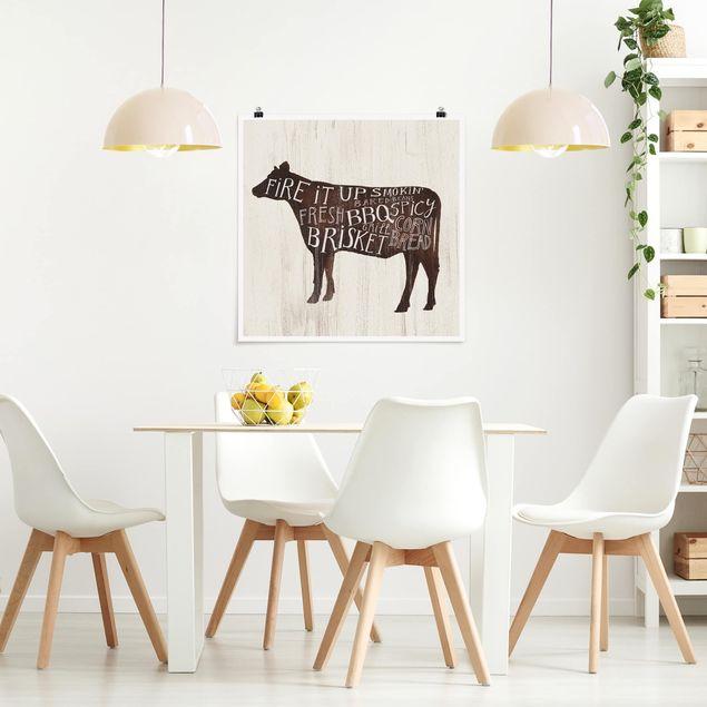 Poster - Bauernhof BBQ - Kuh - Quadrat 1:1