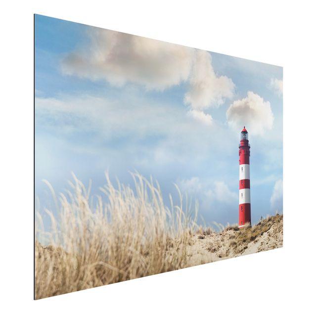Alu-Dibond Bild - Leuchtturm in den Dünen