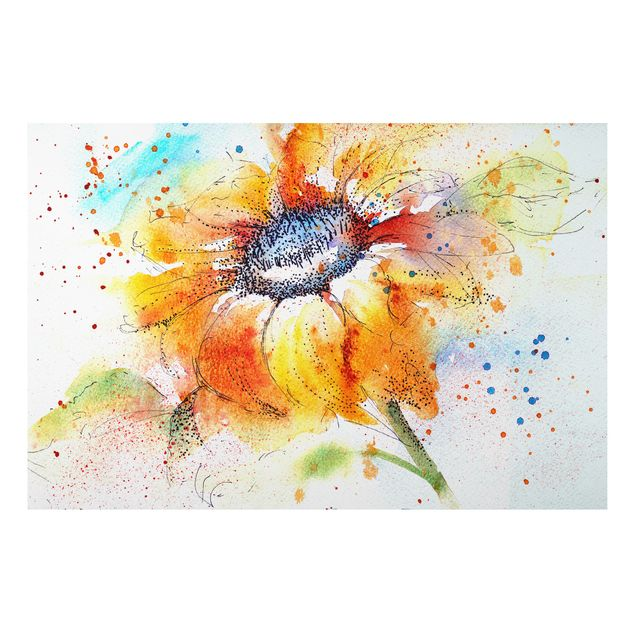 Alu-Dibond Bild - Painted Sunflower