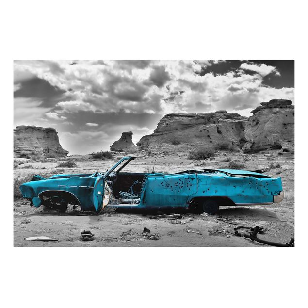 Alu-Dibond Bild - Türkiser Cadillac