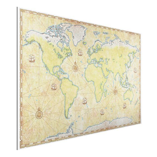 Alu-Dibond Bild - World Map