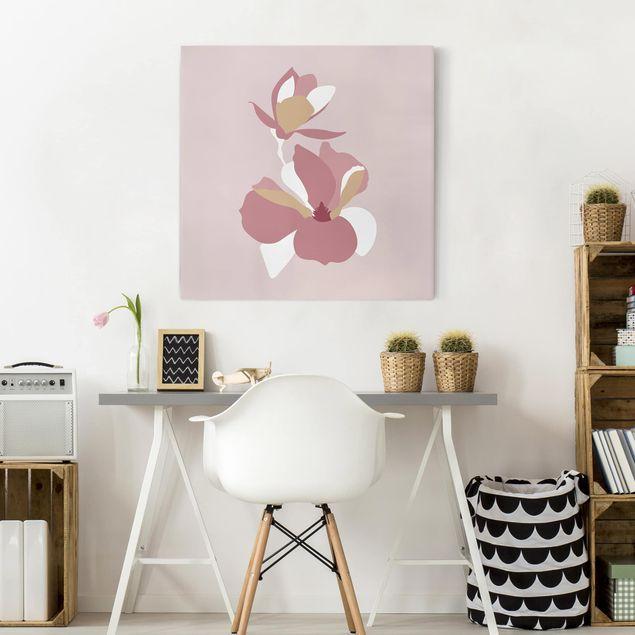 Leinwandbild - Line Art Blüten Pastell Rosa - Quadrat 1:1