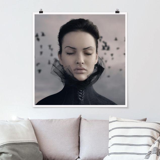 Poster - Porträt einer weinenden Frau - Quadrat 1:1