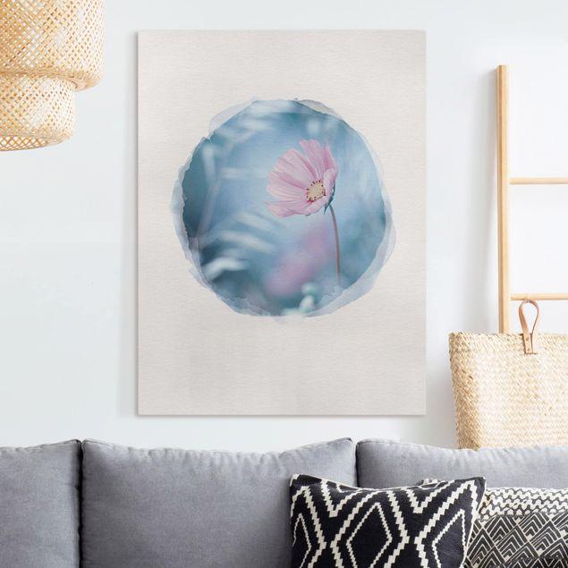 Leinwandbild - Wasserfarben - Blüte in Pastell - Hochformat 4:3