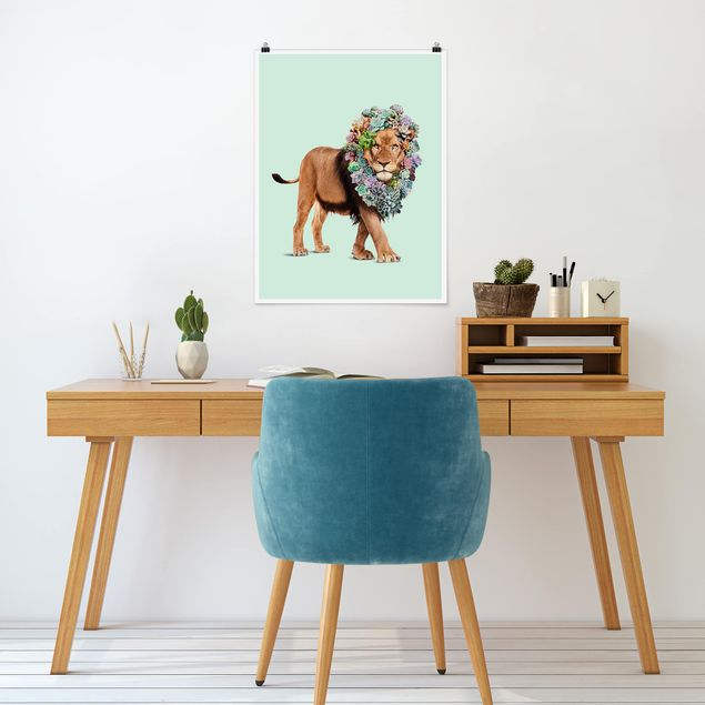 Poster - Jonas Loose - Löwe mit Sukkulenten - Hochformat 3:4